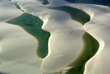 Aerial image of rain ponds in between sand dunes, Lencois Maranhenses, Maranhao, Brazil, South America