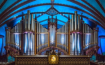 The Organ in Notre-Dame Basilica, Montreal, Quebec, Canada, North America