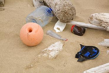Plastic debris washed up on the beach near the Radio station on VERY REMOTE northern Bear Island (Bj¯rn¯ya) in the Svalbard Archipeligo.