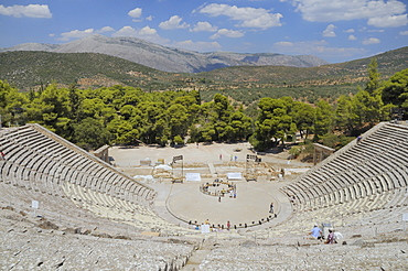 Ancient theatre of Epidaurus (Epidavros), Argolis, Peloponnese, Greece, Europe