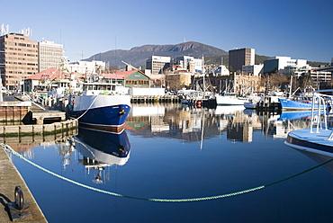 Victoria dock and Hobart city overlooked by Mt Wellington, Hobart, Tasmania, Australia - 994-24