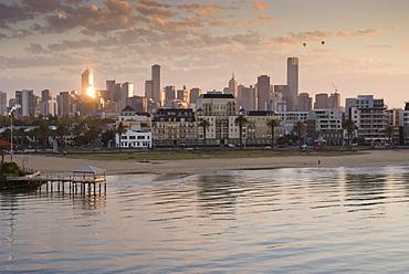 Sunrise over city and beach front, Port Melbourne, Melbourne, Victoria, Australia - 994-34