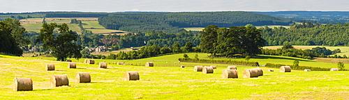 Hay bale landscape in Northumberland National Park, near Hexham, Northumberland, England, United Kingdom, Europe