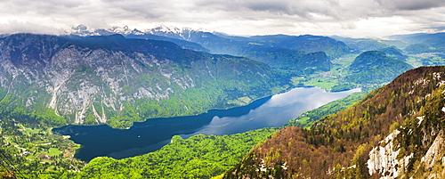 Lake Bohinj (Bohinjsko Jezero) seen from Vogel Ski Resort, Triglav National Park, Julian Alps, Slovenia, Europe