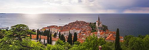 Piran and the Mediterranean Sea, seen from Piran Town Walls, Piran, Primorska, Slovenian Istria, Slovenia, Europe