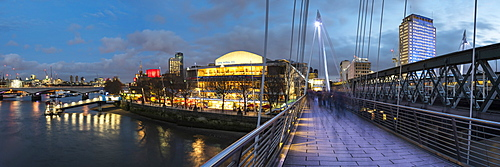 Golden Jubilee Bridges, with Southbank Centre and Royal Festival Hall behind, South Bank, London, England, United Kingdom, Europe