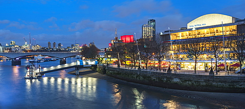 Southbank Centre, Royal Festival Hall and Festival Pier, seen from Golden Jubilee Bridges, South Bank, London, England, United Kingdom, Europe