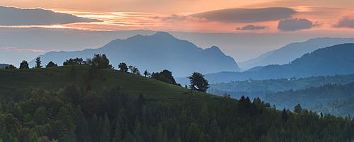 Carpathian Mountains landscape at sunrise near Bran Castle, Transylvania, Romania, Europe
