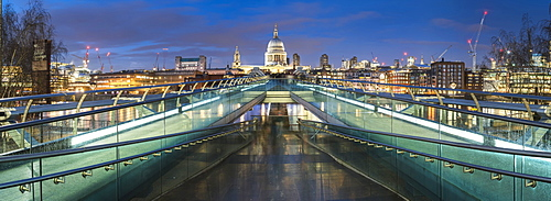 St. Pauls Cathedral at night, seen across Millennium Bridge, City of London, London, England, United Kingdom, Europe