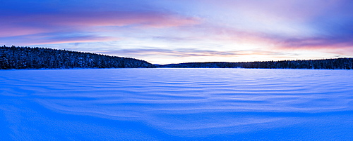 Frozen lake at Torassieppi, Lapland, Finland, Europe