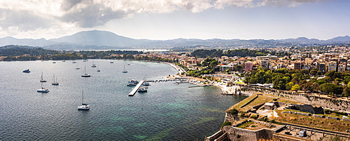 Panorama of Corfu's old town and harbor in Greece, Europe
