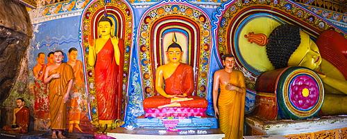 Colourful Buddha statues at Isurumuniya Vihara, Anuradhapura, UNESCO World Heritage Site, Sri Lanka,Asia