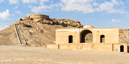 Ruins of ritual buildings near Dakhmeh Zoroastrian Tower of Silence, Yazd, Iran, Middle East