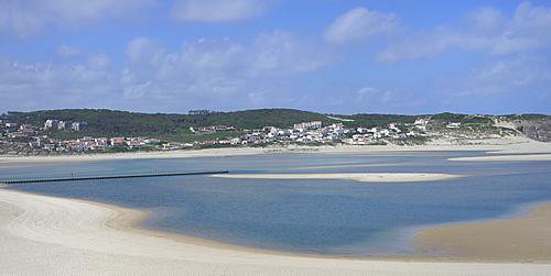 Obidos lagoon and the Atlantic Ocean, Foz de Arelho, Leiria district, Portugal, Europe