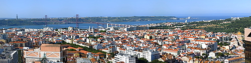 Panorama over Lisbon and 25th April Bridge, Lisbon, Portugal, Europe