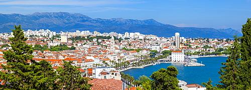 Elevated view over Split's picturesque Stari Grad and harbour, Split, Dalmatia, Croatia, Europe - 1158-469