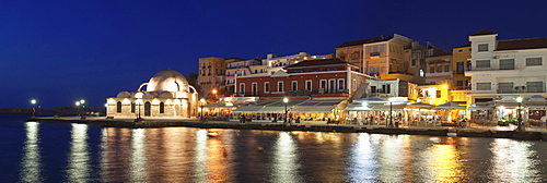 Venetian port and Turkish Mosque Hassan Pascha at the old town of Chania at night, Crete, Greek Islands, Greece, Europe