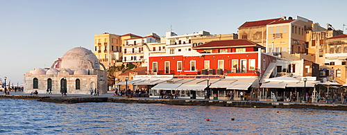 Venetian port and Turkish Mosque Hassan Pascha at the old town of Chania, Crete, Greek Islands, Greece, Europe