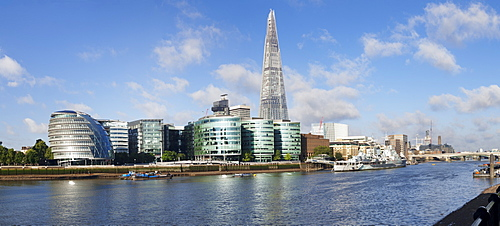 View over River Thames to South Bank with City Hall and Shard Building, London, England, United Kingdom, Europe