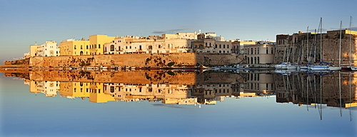 Old town with castle and harbour at sunrise, Gallipoli, Lecce province, Salentine Peninsula, Puglia, Italy, Mediterranean, Europe
