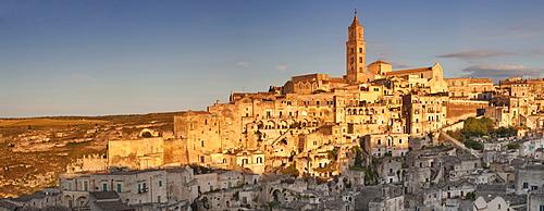 Sasso Barisano and cathedral at sunset, UNESCO World Heritage Site, Matera, Basilicata, Puglia, Italy, Europe