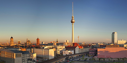 View over Alexanderstrasse to TV Tower, Rotes Rathaus (Red Town Hall), Hotel Park Inn and Alexa shopping center, Berlin, Germany, Europe