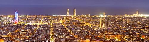 Barcelona skyline with Torre Agbar and Sagrada Familia by architect Antonio Gaudi, Barcelona, Catalonia, Spain, Europe
