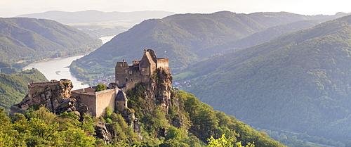 Aggstein Castle Ruin on Danube River at sunset, Cultural Landscape Wachau, UNESCO World Heritage Site, Austria, Europe