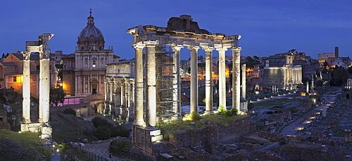 Roman Forum (Foro Romano), Temple of Saturn and Arch of Septimius Severus, Rome, Lazio, Italy