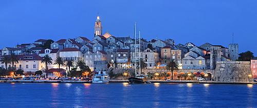 Harbour and Old Town of Korcula, Island of Korcula, Dalmatia, Croatia, Europe