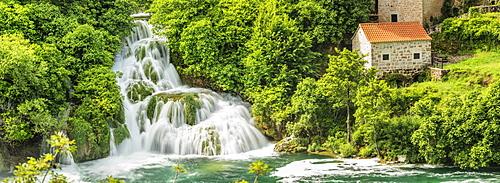 Mill at Skradinski Buk Waterfalls, Krka National Park, Dalmatia, Croatia, Europe