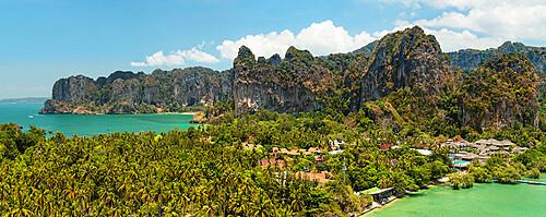 Railay Peninsula with West Rai Leh Beach and East Rai Leh Beach, Krabi, Thailand, Southeast Asia, Asia