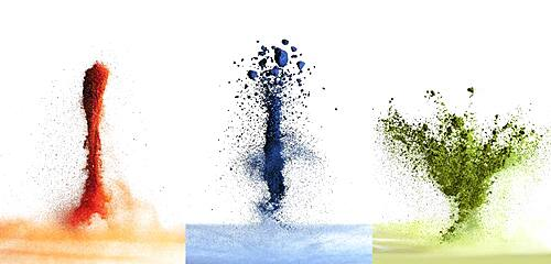 Variety of exploding pigment powders