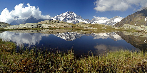 Panorama of Mount Disgrazia reflected in the lake Vazzeda, Alpe Fora, Malenco Valley, Valtellina, Lombardy, Italy, Europe