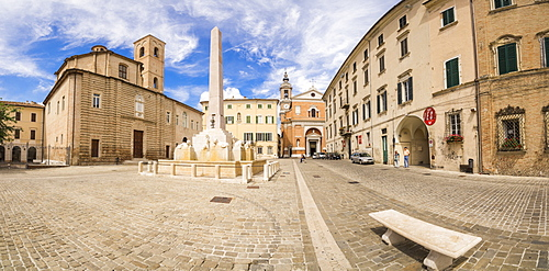 Historical buildings and obelisk of the ancient Piazza Federico II, Jesi, Province of Ancona, Marche, Italy, Europe