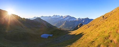 Panorama of Cima Presanella at dawn seen from Monte Tonale, Valcamonica, border Lombardy and Trentino-Alto Adige, Italy, Europe