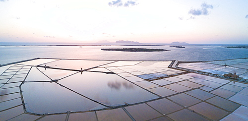 Aerial view of Saline dello Stagnone at sunset, Marsala, province of Trapani, Sicily, Italy, Mediterranean, Europe (Drone)