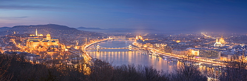 Panoramic of the city at dusk from The Citadel on Gellert Hill, Budapest, Hungary, Europe