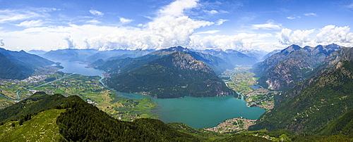 Panoramic aerial view of Alpe Bassetta and Lake Como towards Chiavenna Valley, Valtellina, Sondrio province, Lombardy, Italy, Europe