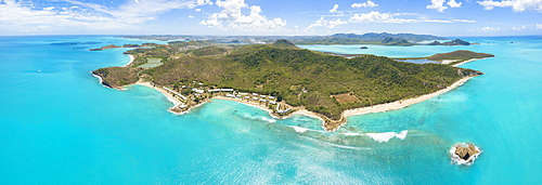 Panoramic elevated view of Hawksbill Bay and Landing Bay, Antigua, Antigua and Barbuda, Leeward Islands, West Indies, Caribbean, Central America