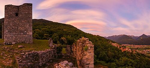 Panoramic of Castello di Domofole at sunset, Costiera dei Cech, Mello, Sondrio province, Lower Valtellina, Lombardy, Italy, Europe
