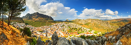 Panorama of white town of Montejaque by mountains in Serrania de Ronda, Spain, Europe