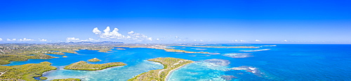 Aerial panoramic by drone of coral reef in the crystal clear Caribbean Sea, Antilles, West Indies, Caribbean, Central America