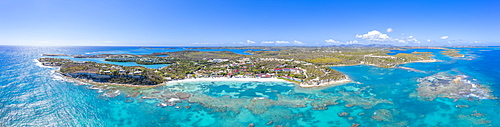 Aerial panoramic by drone of the coral reef around Long Bay, Antigua, Antigua and Barbuda, Leeward Islands, West Indies, Caribbean, Central America