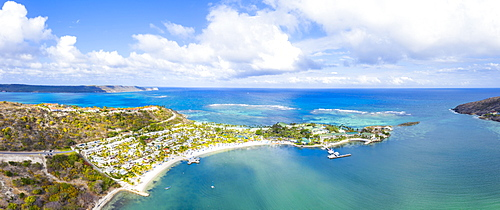 Aerial view by drone of St. James Bay, Antigua, Antigua and Barbuda, Leeward Islands, West Indies, Caribbean, Central America