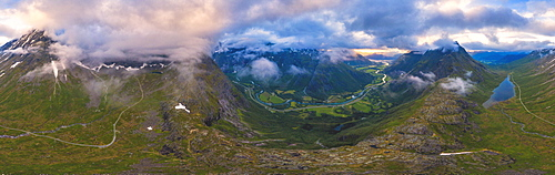Aerial panoramic of Romsdalen and Venjesdalen mountains from Romsdalseggen Ridge, Andalsnes, More og Romsdal county, Norway, Scandinavia, Europe