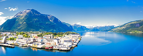 Aerial panoramic by drone of Andalsnes town and fjord, Rauma municipality, More og Romsdal county, Norway, Scandinavia, Europe