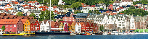 Panoramic of the multi coloured facades of buildings in Bryggen, UNESCO World Heritage Site, Bergen, Hordaland County, Western Fjords region, Norway, Scandinavia, Europe