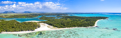 Aerial by drone of white sand beach and turquoise tropical lagoon, Ile Aux Cerfs, Flacq, East Coast, Mauritius, Indian Ocean, Africa