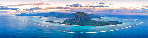Aerial panoramic of Le Morne Brabant peninsula and coral reef, Black River district, Mauritius, Indian Ocean, Africa